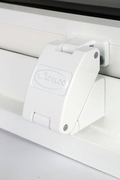 Jackloc Titan Folding Safety Window Restrictor - Available in White, Black & Brown