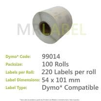 Dymo 99014 Compatible Roll of Labels (100 Rolls)