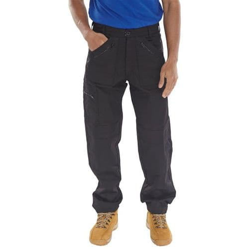 Click Black Action Work Trousers