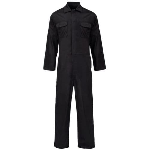 Supertouch Black Polycotton Coverall Boilersuit