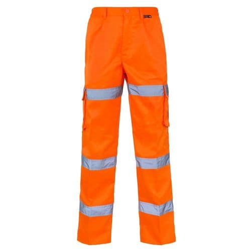 Supertouch Hi Vis Orange 3 Band Combat Trousers