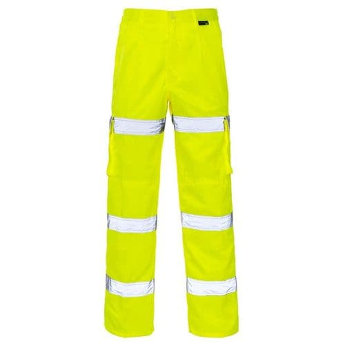 Supertouch Hi Vis Yellow 3 Band Combat Trousers