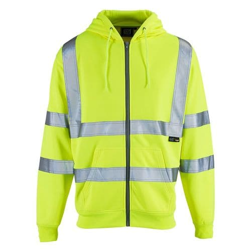 Supertouch Hi Vis Yellow Zipped Hoodie