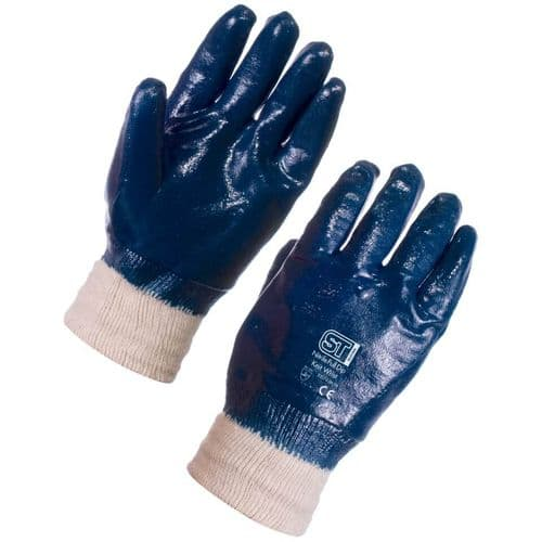 Supertouch Nitrile Heavyweight Full Dip Knit Wrist Gloves - 120 Pairs
