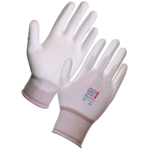 Supertouch White Electron PU Fixer Gloves - 120 Pairs
