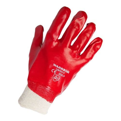 Warrior Red PVC Knit Wrist Gloves - 12 Pairs