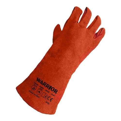 Warrior Supa Red Leather Welding Gauntlets - 6 Pairs