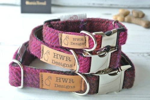 Cerise Tweed Dog Collar