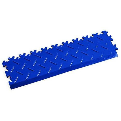 Blue Diamond Plate - Interlocking Tile Edging