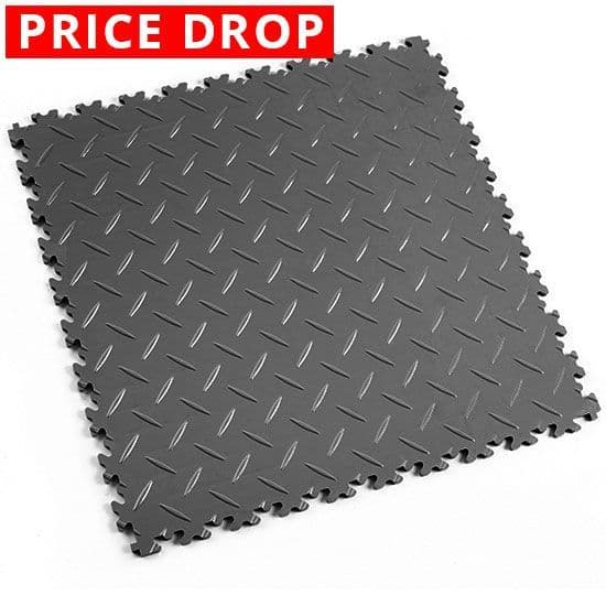 Dark Grey Diamond Plate - Motolock Interlocking Floor Tile | Mototile Shop