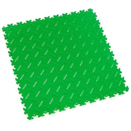 Light Green Diamond Plate - Motolock Interlocking Floor Tile