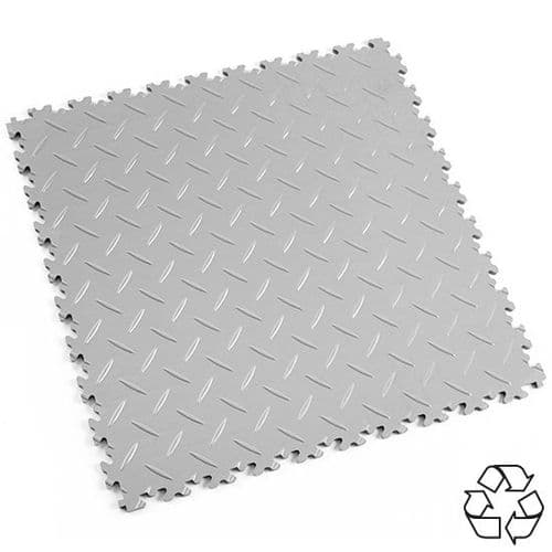 Light Grey Recycled Diamond Plate - Motolock Interlocking Tile