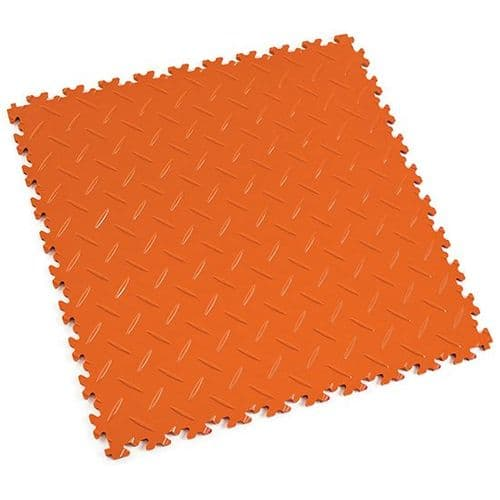 Orange Diamond Plate - Motolock Interlocking Floor Tile