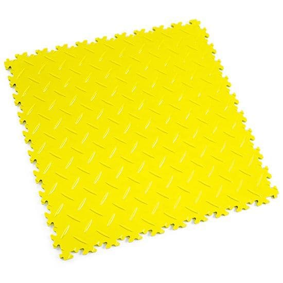 Yellow Diamond Plate - Motolock Interlocking Floor Tile | Mototile Shop