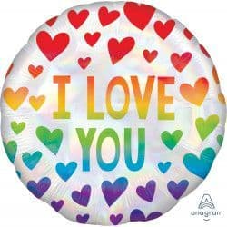 """*Anagram 18"""" S40 Rainbow Hearts I Love You Packaged"""