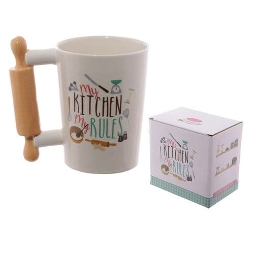 *Ceramic Shaped Handle Mug - Cooking Rolling Pin gift