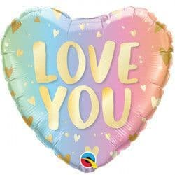 """*PASTEL OMBRE & HEARTS LOVE YOU 18"""" PKT"""