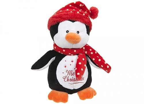 "10"" PENGUIN WITH RED POLKA HAT & SCARF"