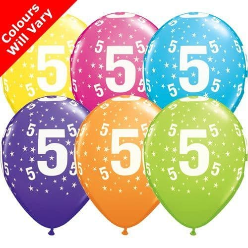 11 INCH 5-A-ROUND TROPICAL ASSORTMENT LATEX BALLOONS (6)