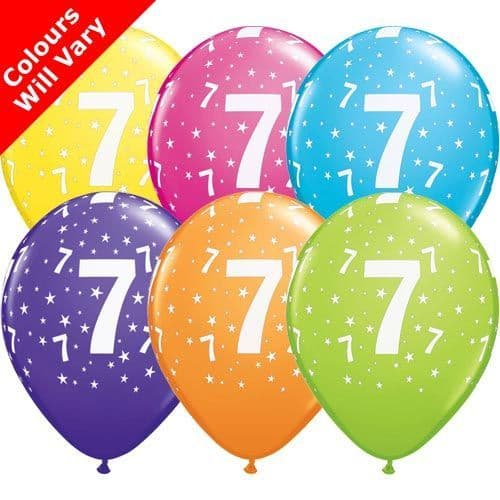 11 INCH 7-A-ROUND TROPICAL ASSORTMENT LATEX BALLOONS (6)
