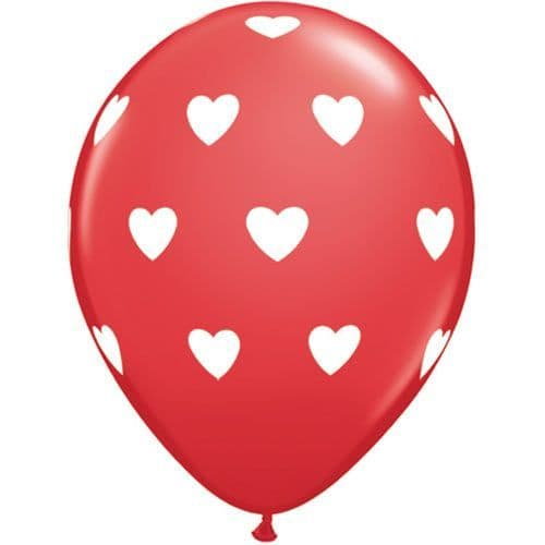 11 INCH BIG HEARTS RED LATEX BALLOONS (6)