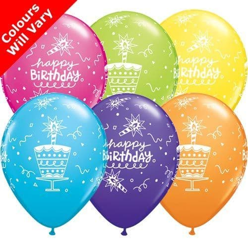 11 INCH BIRTHDAY CAKE & CANDLE RETAIL ASST LATEX BALLOONS (6)