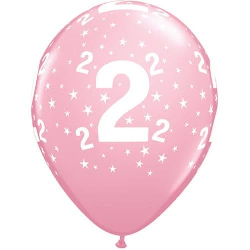 11 INCH NUMBER 2 STARS PINK LATEX BALLOONS (6)