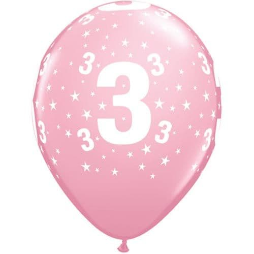 11 INCH NUMBER 3 STARS PINK LATEX BALLOONS (6)