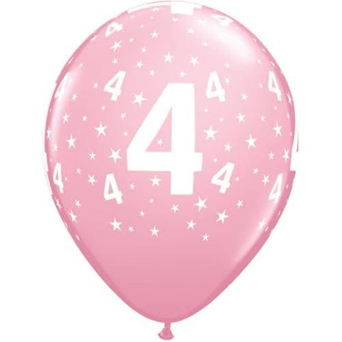 11 INCH NUMBER 4 STARS PINK LATEX BALLOONS (6)