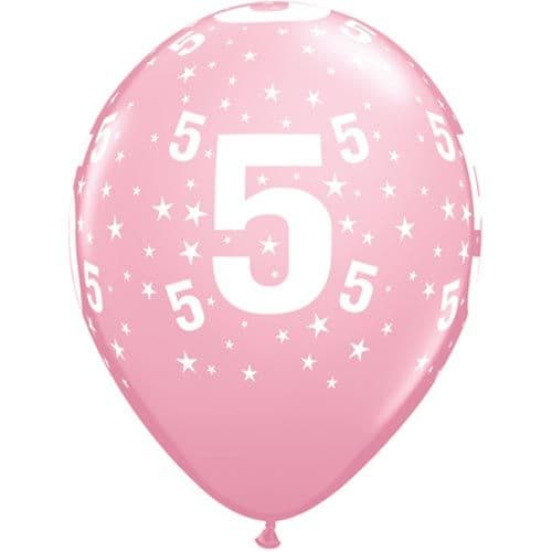 11 INCH NUMBER 5 STARS PINK LATEX BALLOONS (6)