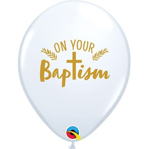 11 inch On Your Baptism Cross White Latex Balloons (25)