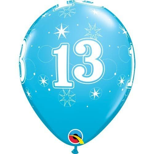 11 INCH ROBIN'S EGG BLUE 13 SPARKLE-A-ROUND LATEX BALLOONS (6)