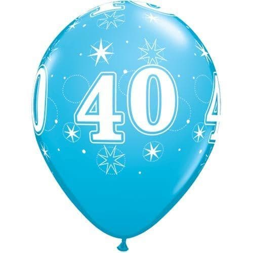 11 INCH ROBIN'S EGG BLUE 40 SPARKLE-A-ROUND LATEX BALLOONS (6)