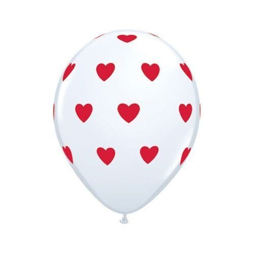11 INCH WHITE W/RED INK BIG HEARTS LATEX BALLOONS (6)