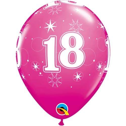 11 INCH WILD BERRY 18 SPARKLE-A-ROUND LATEX BALLOONS (6)