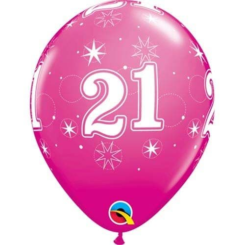11 INCH WILD BERRY 21 SPARKLE-A-ROUND LATEX BALLOONS (6)