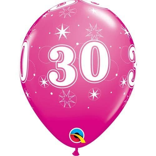 11 INCH WILD BERRY 30 SPARKLE-A-ROUND LATEX BALLOONS (6)