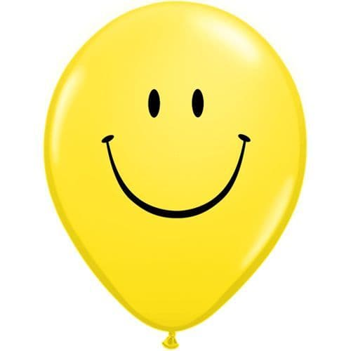 11 INCH YELLOW SMILE FACE LATEX BALLOONS (6)