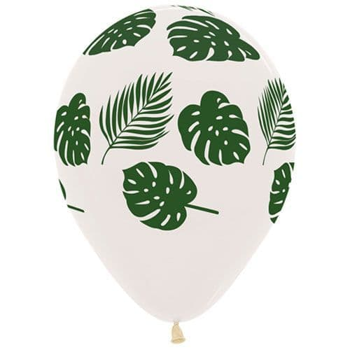 12 inch Tropical Leaves Clear Latex Balloons (25)