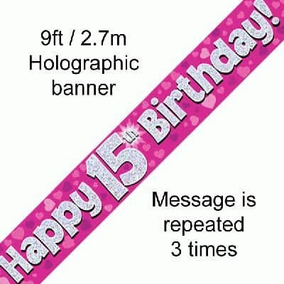 15th Birthday Pink Banner