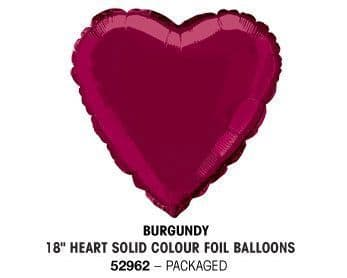 "18"" BURGUNDY HEART PACKAGED"