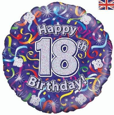 """18"""" Oaktree 18th Birthday Streamers Holographic"""