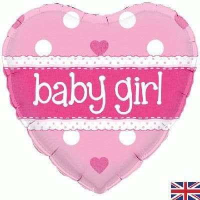 """18"""" Oaktree Baby Girl Heart Holographic"""