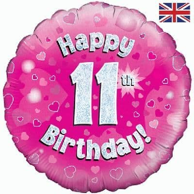 """18"""" Oaktree Happy 11th Birthday Pink Holographic"""