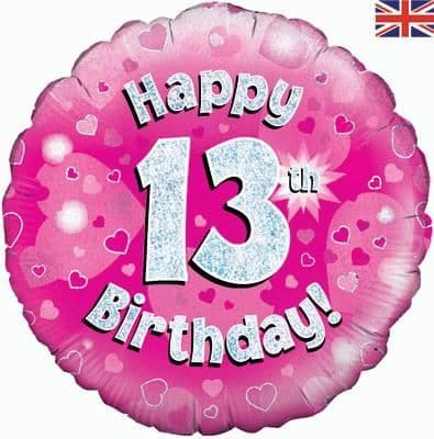 """18"""" Oaktree Happy 13th Birthday Pink Holographic"""