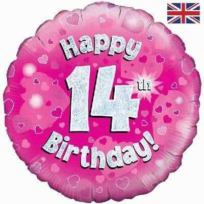 """18"""" Oaktree Happy 14th Birthday Pink Holographic"""