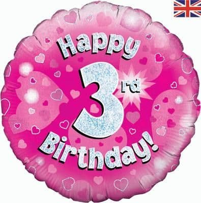 """18"""" Oaktree Happy 3rd Birthday Pink Holographic"""
