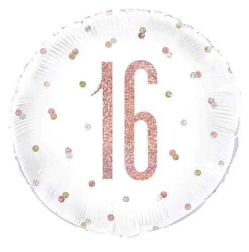 "18"" Rose Gold Glitz 16th Birthday Foil"