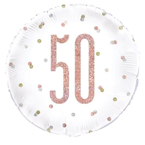 "18"" Rose Gold Glitz 50th Birthday Foil"
