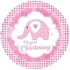 "18"" SWEET BABY ELEPHANT CHRISTENING PINK"